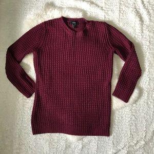 Burgundy Thick Tunic Sweater